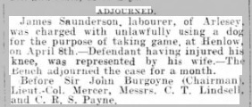 James Saunderson Beds Times & Indepen 13 April 1906