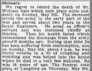 Obituary Biggleswade Chronicle 17 May 1918
