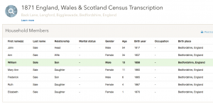 William Sale 1871 census