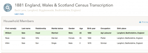 William Sale 1881 census