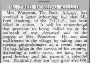 Fred Hosking Bigg Chron 16 Oct 1914