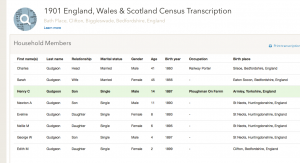 Henry Gudgeon 1901 census